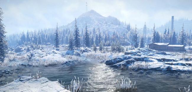 Фото реки и снежных берегов Аляски в Snowrunner
