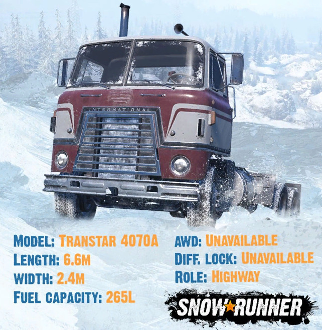 Информация о грузовике Transtar 4070A в игре СноуРаннер