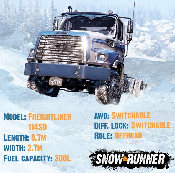 Характеристики легкого грузовика Freightliner 114SD в игре СноуРаннер