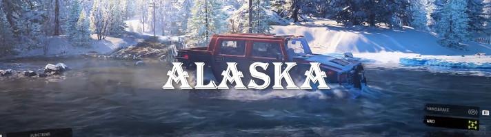 Хамеер в реке Аляски из игры СноуРаннер