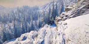 Опасная езда по склонам Аляски в игре Snowrunner