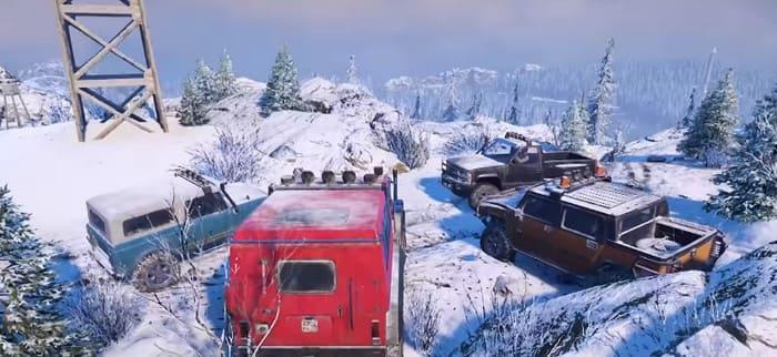 Фото четырех разведывательных машин из игры SnowRunner