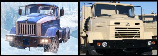 Сравнение КРАЗ 6322 и Tayga 6436 из игры SnowRunner по фото