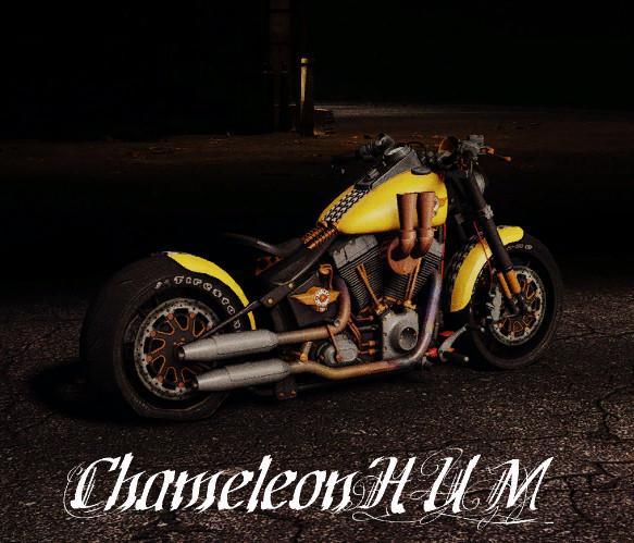 Фото желтого Харлея в игре SnowRunner