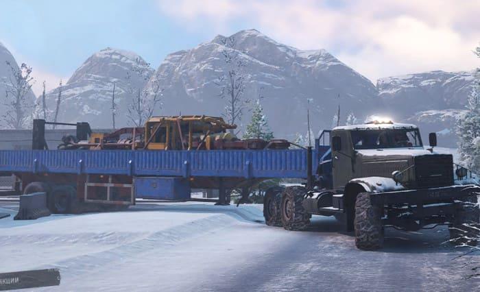 Краз 255 с бортовым прицепом в игре SnowRunner