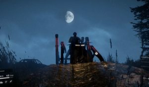 Spider мод на фоне луны
