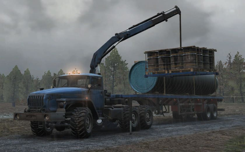 Урал 432031 в SnowRunner с манипулятором