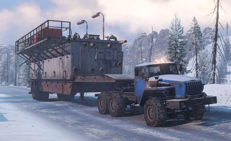 Урал 432031 в SnowRunner с непонятным, большим прицепом