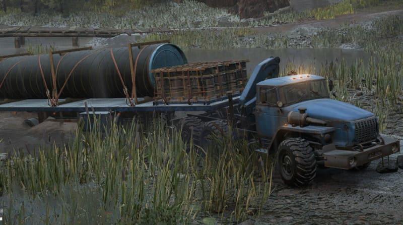 Урал 432031 в SnowRunner выезжает с грузом