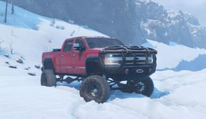 Красный Chevrolet Duramax Roro в Snowrunner