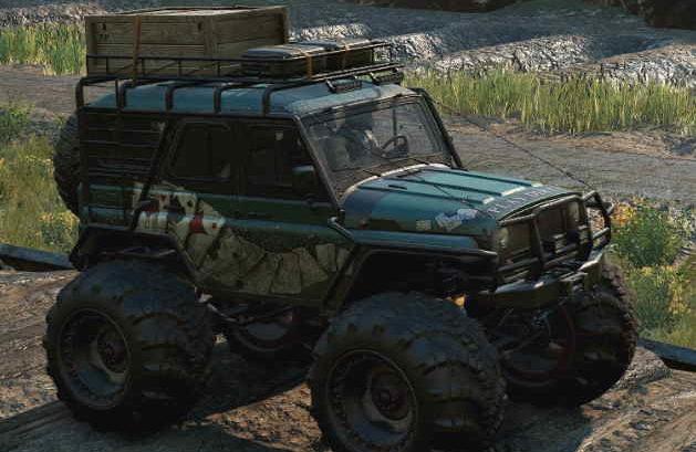 Скриншот из игры Сноураннер Emils khan 39 marshall вид с боку машины.