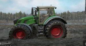 Скриншот из игры Сноураннер Fendt 930 ездит по грязевой местности.