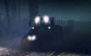 Фото трактора ночью