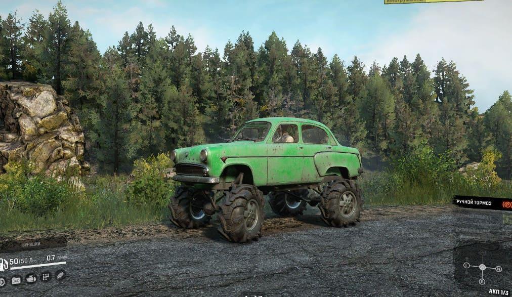 Москвич 410 зеленый в SnowRunner