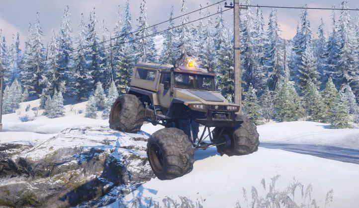 Четырехколесный Yar87 по снегу