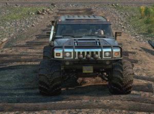 Скриншот из игры Сноураннер Hummer H2 Emils вид спереди машины.