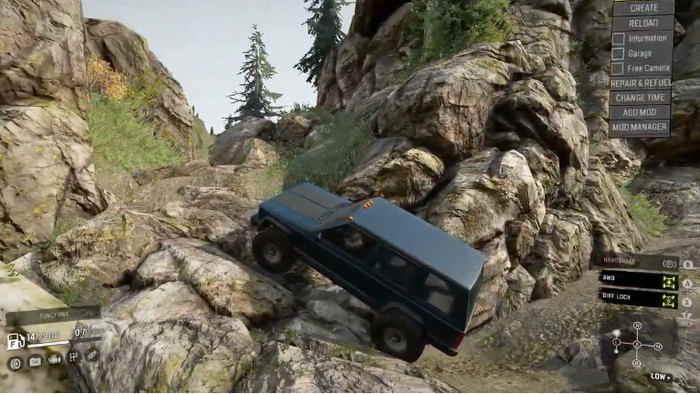 Скриншот из игры Сноураннер Maps paradise езда по камнистой местности.