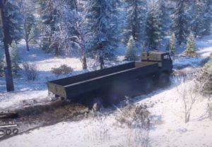 Скриншот из игры Сноураннер Кamaz 6350 Zimoj едем за грузом