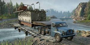 Скриншот из игры Сноураннер TATRA 148 6x6 с прицепом едет через реку.