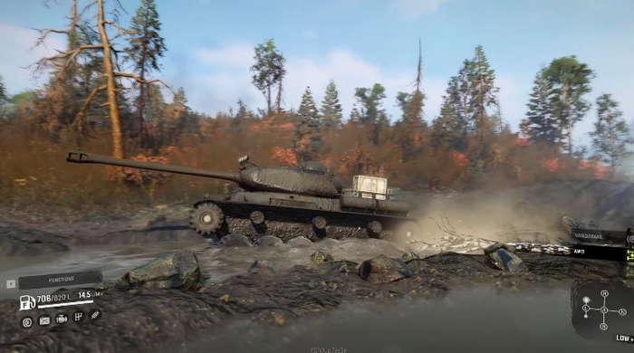 Скриншот из игры Сноураннер. Ис2 едет по болоту