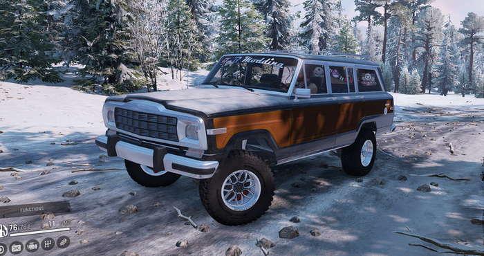 Скриншот из игры Сноураннер 1991 Jeep Wagoneer обзор машины.