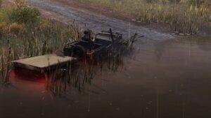 Скриншот из игры Сноураннер Willys MB 1942 в болотной местности.