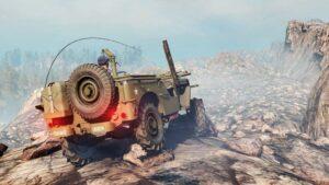 Скриншот из игры Сноураннер Willys MB 1942 в скалистой. местности