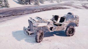 Скриншот из игры Сноураннер Willys MB 1942 в за снежной местности.